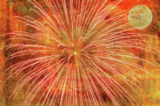 Fire Works Prints - Full Moon and Fireworks Print by Randy Steele
