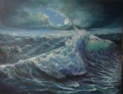 Sea Moon Full Moon Painting Originals - Full Moon and The Sea by Lolita Dickinson
