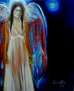 Night Angel Paintings - Full Moon Angel by Saika Messineo