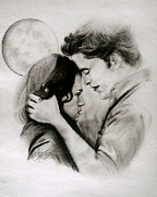 Twilight Drawings - Full Moon by Ann Supan