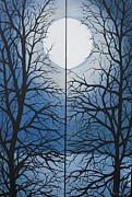 Sea Moon Full Moon Painting Originals - Full moon by Anne Thomassen