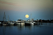 Boats At Dock Digital Art Prints - Full Moon at Clearwater Marina Print by Bill Cannon
