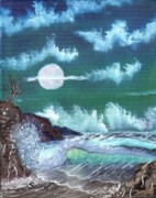 Sea Moon Full Moon Painting Originals - Full Moon at Sea by Jim Saltis