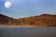 Appalachian Mountains Posters - Full Moon Big Ditch Lake Poster by Thomas R Fletcher