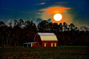 Small Town Digital Art Prints - Full Moon Down on the Farm Print by Bill Cannon