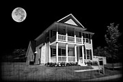 Scary Mansion Framed Prints - Full Moon Estate Framed Print by Ricky Barnard