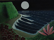Oceanscape Paintings - Full Moon In Paradise by Javier  Torres