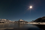 Sea Moon Full Moon Photo Prints - Full moon in the arctic Print by Frank Olsen