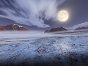 Cold Night Posters - Full Moon In Winter Poster by Detlev Van Ravenswaay