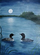Loon Painting Framed Prints - Full Moon Loon Framed Print by Sandra Lunde
