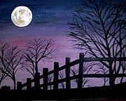 Eerie Painting Metal Prints - Full Moon Metal Print by Marilyn Campbell