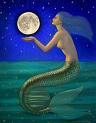 Mermaid Pastels Prints - Full Moon Mermaid Print by Sue Halstenberg