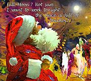 Greetings Cards Mixed Media Posters - Full Moon Poster by Miki De Goodaboom