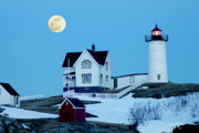 Cape Neddick Light Framed Prints - Full Moon Nubble Framed Print by Greg Fortier