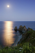 Sea Moon Full Moon Posters - Full Moon On Cape Four Rocks Poster by V. Serebryanskiy