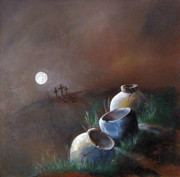 Jugs Painting Prints - Full Moon on Crosses and Crocks Print by Gary Smith