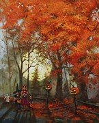 Fall Colors Paintings - Full Moon on Halloween Lane by Tom Shropshire