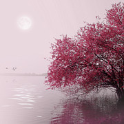 Red Tree Prints - Full Moon On The Lake Print by Philippe Sainte-Laudy Photography