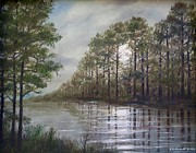 Reflections Of Trees In River Paintings - Full Moon on the River by Kathleen McDermott