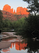 Oak Creek Prints - Full Moon Over Cathedral Rock Print by Sandy Tracey