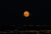 D700 Metal Prints - Full Moon Over Denver Metal Print by Stephen  Johnson