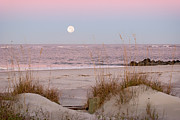 Full Moon Over Folly Beach Print by Vanessa Kauffmann