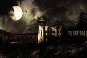 Prisons Prints - Full Moon Over Hard Time - San Quentin California State Prison - 7D18546 - Partial Sepia Print by Wingsdomain Art and Photography