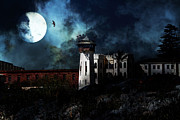 Prisons Prints - Full Moon Over Hard Time - San Quentin California State Prison - 7D18546 Print by Wingsdomain Art and Photography
