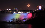 Niagara River Prints - Full Moon over Niagara Print by Charline Xia