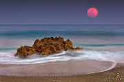 Horizon Over Water Prints - Full Moon Over Ocean And Rocks Print by Melinda Moore