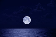Full Moon Over Ocean, Night Print by Buena Vista Images