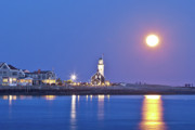 March Prints - Full Moon over Scituate Light Print by Susan Cole Kelly