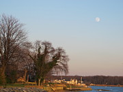 Sky Pyrography - Full Moon Over South River Annapolis by Valia Bradshaw