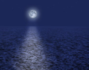 Moon Rise Posters - Full Moon Over the Ocean Poster by Utah Images