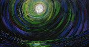 Sea Moon Full Moon Painting Originals - Full Moon over the Sea by Erik Tanghe