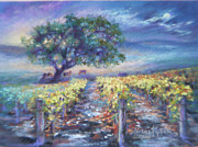 Mountain Valley Pastels - Full Moon Over The Vineyard by Denise Horne-Kaplan