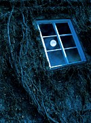 Moonlit Night Posters - Full Moon Reflected In A Window Poster by Richard Kail