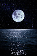 Sea Moon Full Moon Framed Prints - Full Moon Reflecting On Ocean Framed Print by Dimitri Otis