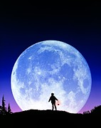 Stargazing Prints - Full Moon Rising Print by David Nunuk