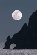 Sea Moon Full Moon Framed Prints - Full Moon Rising Over A Coastal Cliff Framed Print by David Nunuk