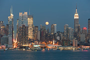 Edifices Posters - Full Moon Rising Over New York City I Poster by Clarence Holmes