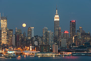 Edifice Framed Prints - Full Moon Rising Over New York City II Framed Print by Clarence Holmes