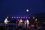 Rock Music Groups Photos - Full moon rising over the band by Yumi Johnson