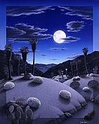 Desert Landscape Paintings - Full Moon Rising by Snake Jagger