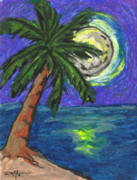 Tropical Art Pastels Prints - Full Moon Rising Print by William Depaula