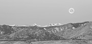 Moon Set Prints - Full Moon Setting Over The CO Rocky Mountains BW Print by James Bo Insogna