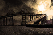 San Rafael California Framed Prints - Full Moon Surreal Night At The Bay Area Richmond-San Rafael Bridge - 5D18440 - Sepia Framed Print by Wingsdomain Art and Photography