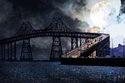 Steel Construction Prints - Full Moon Surreal Night At The Bay Area Richmond-San Rafael Bridge - 5D18440 Print by Wingsdomain Art and Photography
