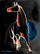 Horse Drawing Prints - Full Moon Print by Tarja Stegars