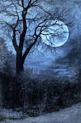 Full Moon Through Bare Trees Branches Print by Jill Battaglia
